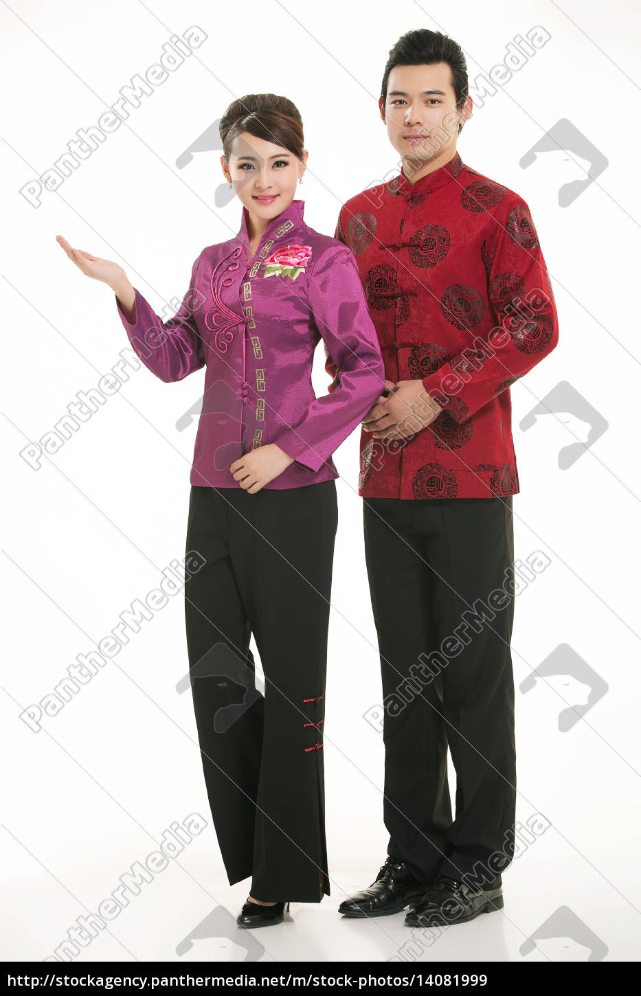 wearing, chinese, clothing, waiter, in, front - 14081999