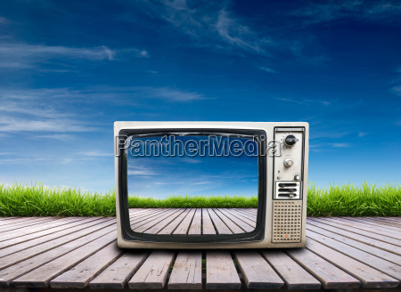 old, television, on, wooden, terrace - 14082829
