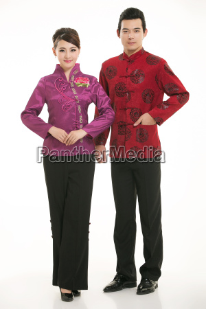 service staff, cotton wadded short gown, cotton wadded undercoat, cottonpadded jacket, greet guests, traditional chinese garments - 14082009