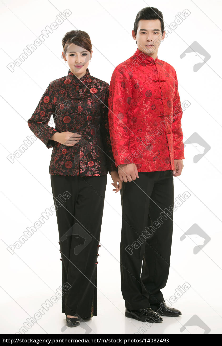 service staff, cotton wadded short gown, cotton wadded undercoat, cottonpadded jacket, greet guests, traditional chinese garments - 14082493