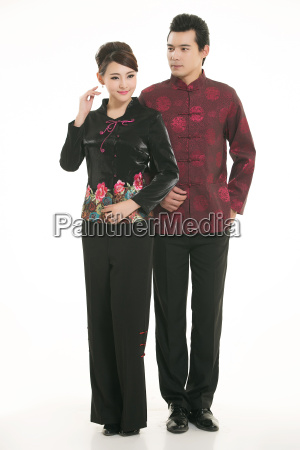 service staff, cotton wadded short gown, cotton wadded undercoat, cottonpadded jacket, greet guests, traditional chinese garments - 14082553