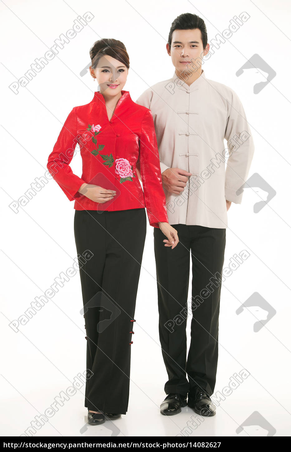 service staff, cotton wadded short gown, cotton wadded undercoat, cottonpadded jacket, greet guests, traditional chinese garments - 14082627