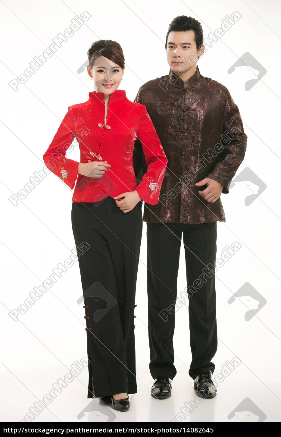 service staff, cotton wadded short gown, cotton wadded undercoat, cottonpadded jacket, greet guests, traditional chinese garments - 14082645