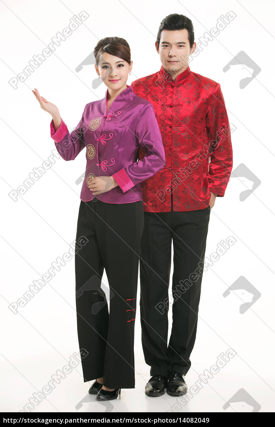 wearing, chinese, clothing, waiter, in, front - 14082049