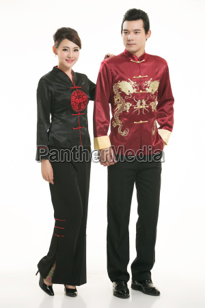 wearing, chinese, clothing, waiter, in, front - 14082075