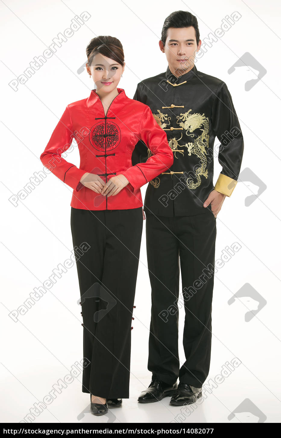 wearing, chinese, clothing, waiter, in, front - 14082077