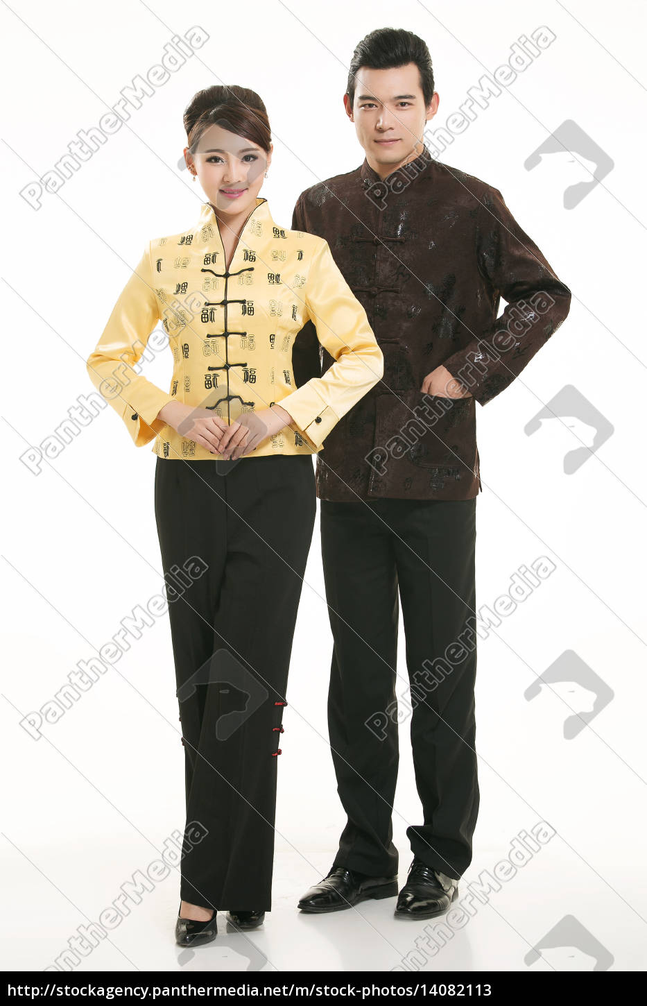wearing, chinese, clothing, waiter, in, front - 14082113