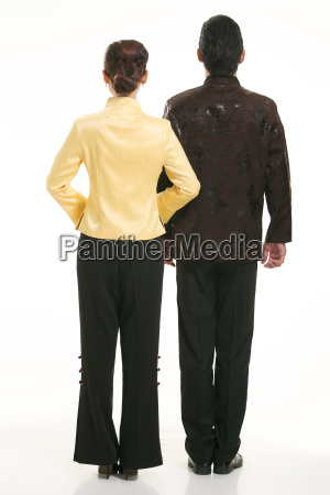 wearing, chinese, clothing, waiter, in, front - 14082115