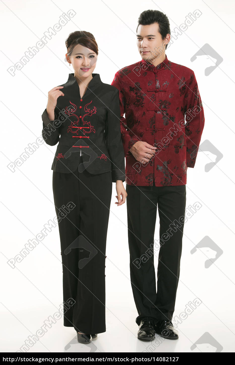 wearing, chinese, clothing, waiter, in, front - 14082127