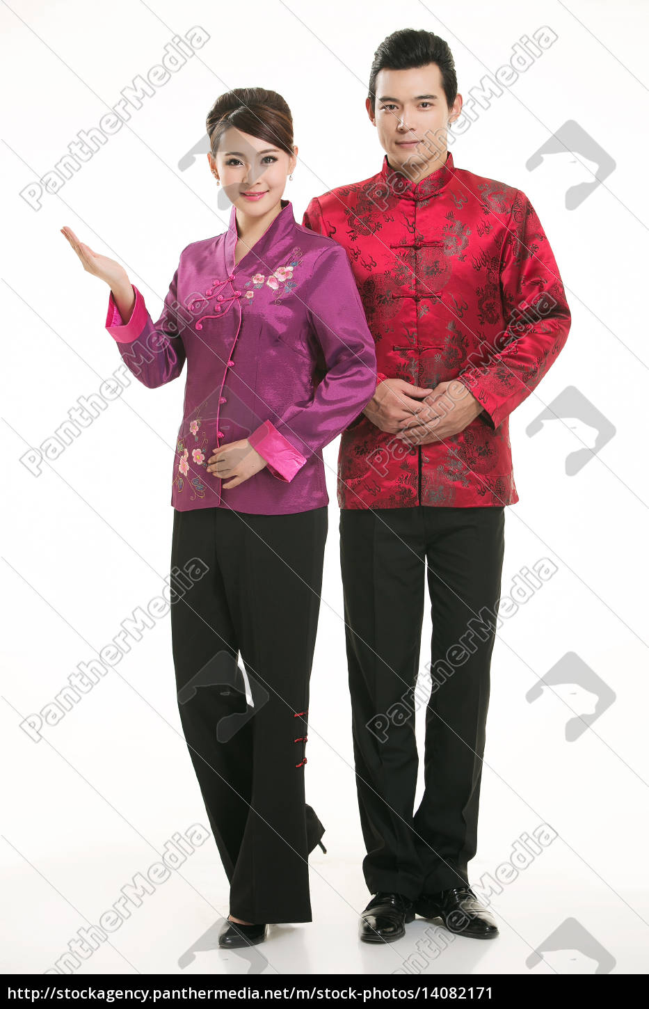 wearing, chinese, clothing, waiter, in, front - 14082171