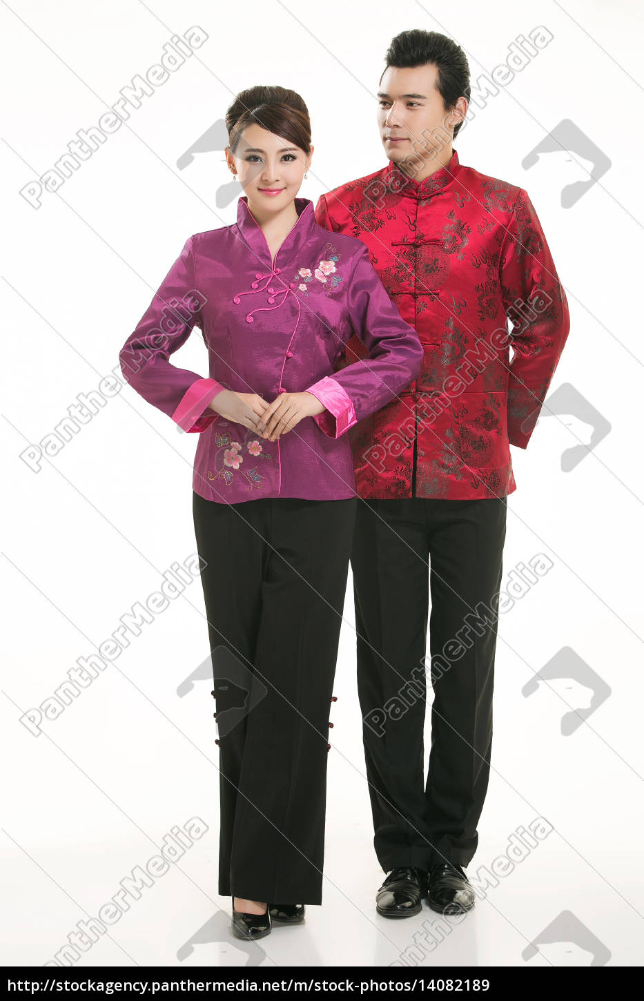 wearing, chinese, clothing, waiter, in, front - 14082189