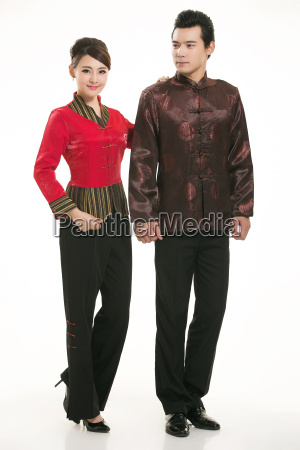 wearing, chinese, clothing, waiter, in, front - 14082257