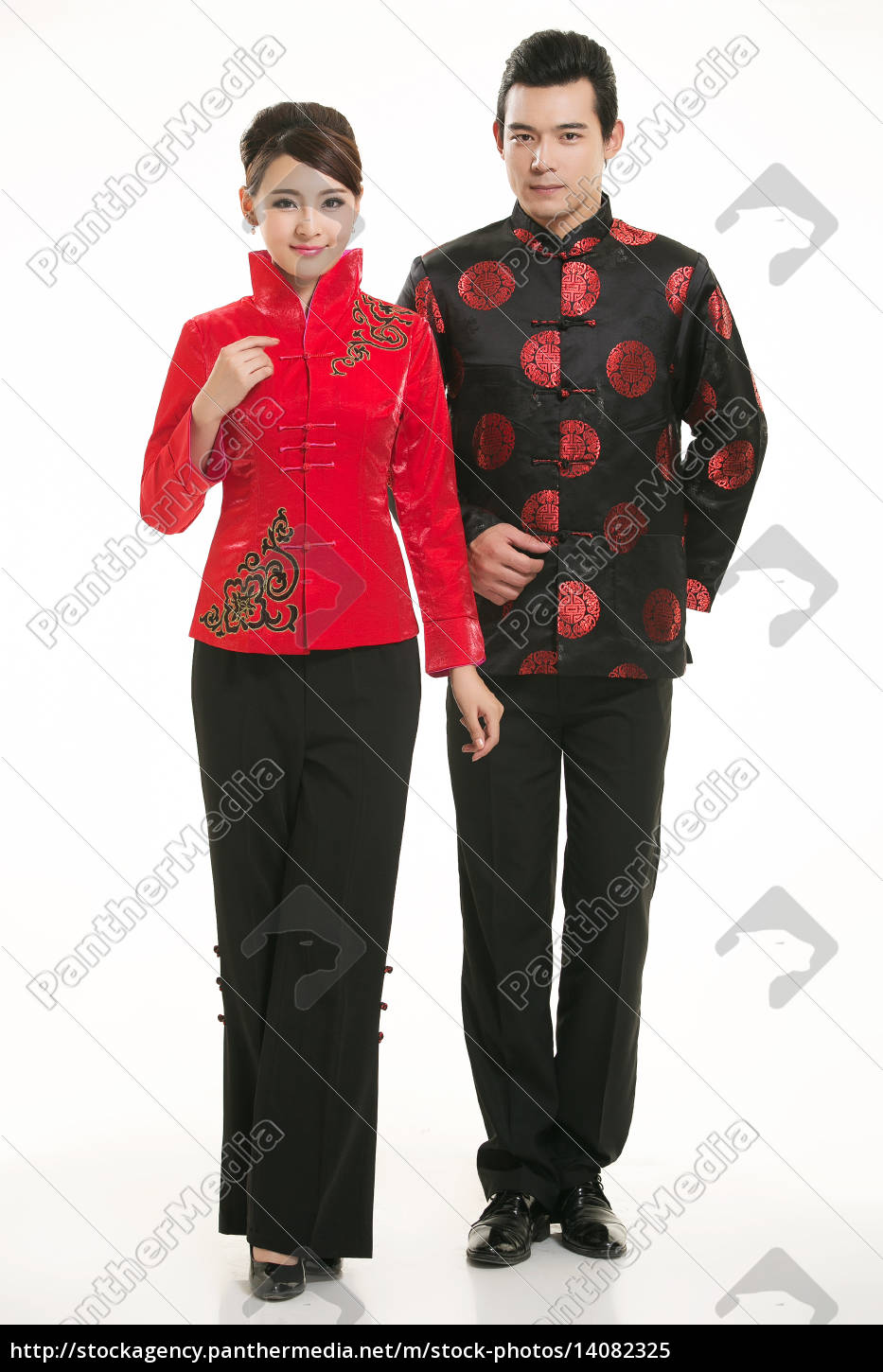 wearing, chinese, clothing, waiter, in, front - 14082325