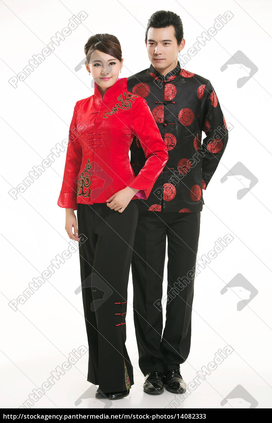 wearing, chinese, clothing, waiter, in, front - 14082333