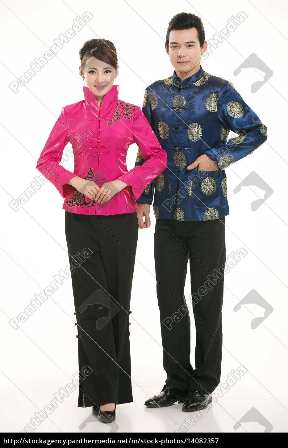 wearing, chinese, clothing, waiter, in, front - 14082357