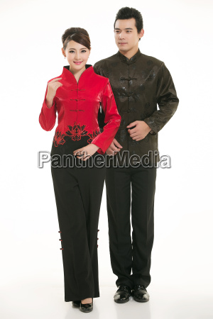 wearing, chinese, clothing, waiter, in, front - 14082365