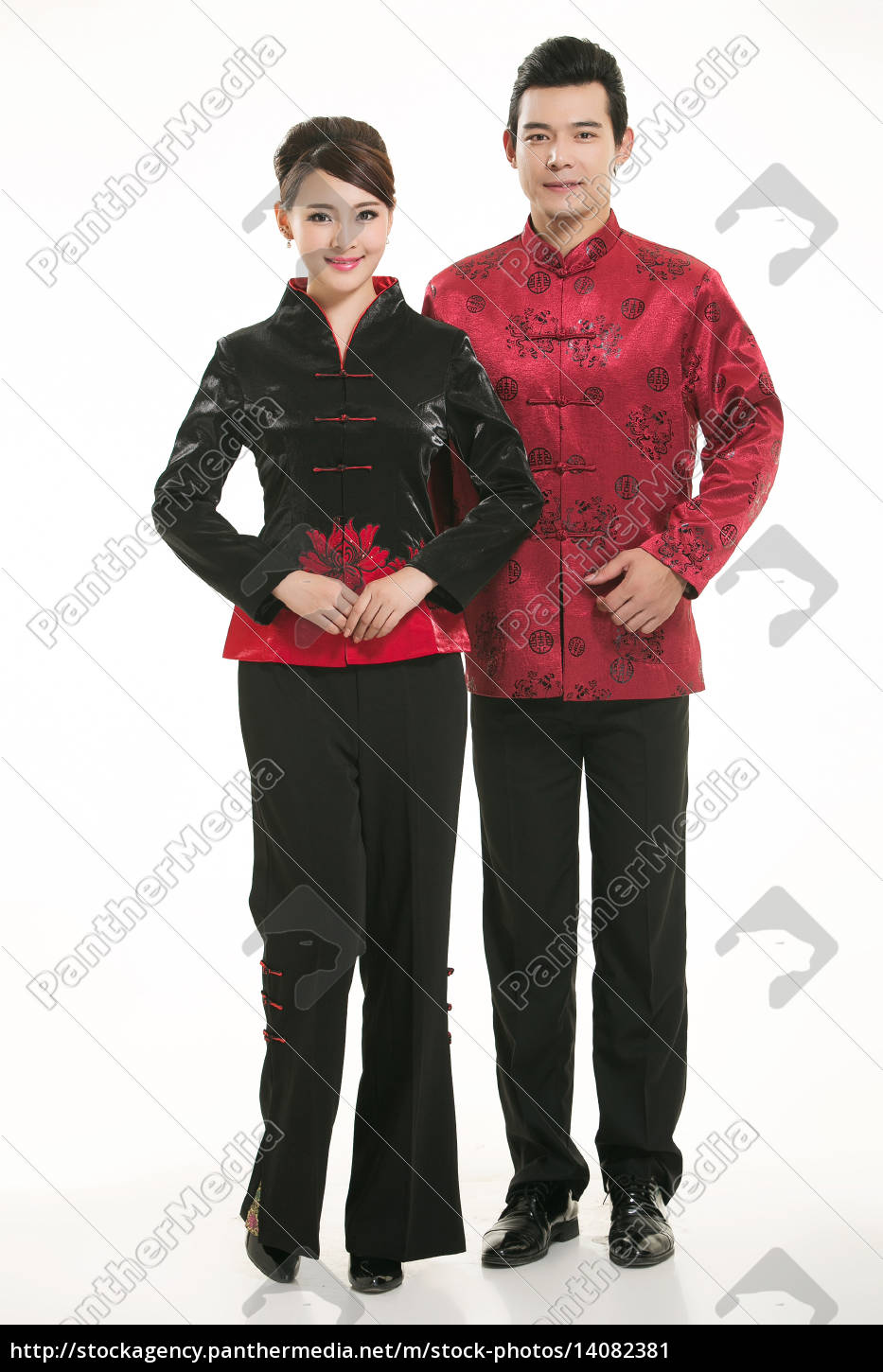 wearing, chinese, clothing, waiter, in, front - 14082381