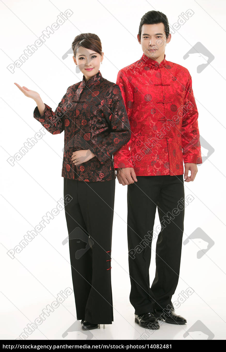 wearing, chinese, clothing, waiter, in, front - 14082481