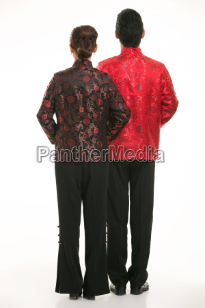 wearing, chinese, clothing, waiter, in, front - 14082503