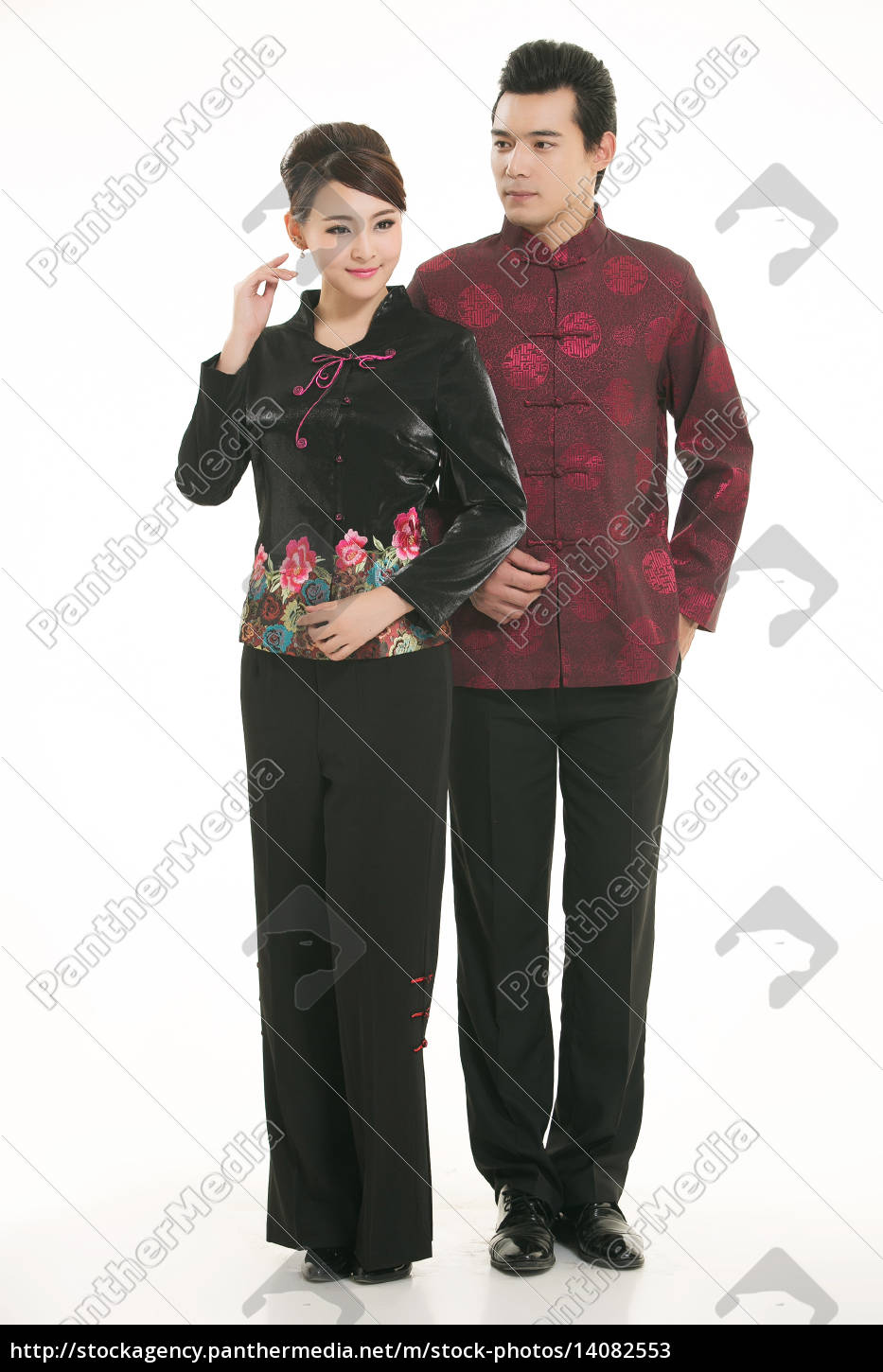 wearing, chinese, clothing, waiter, in, front - 14082553