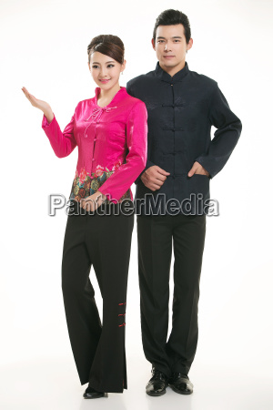 wearing, chinese, clothing, waiter, in, front - 14082563