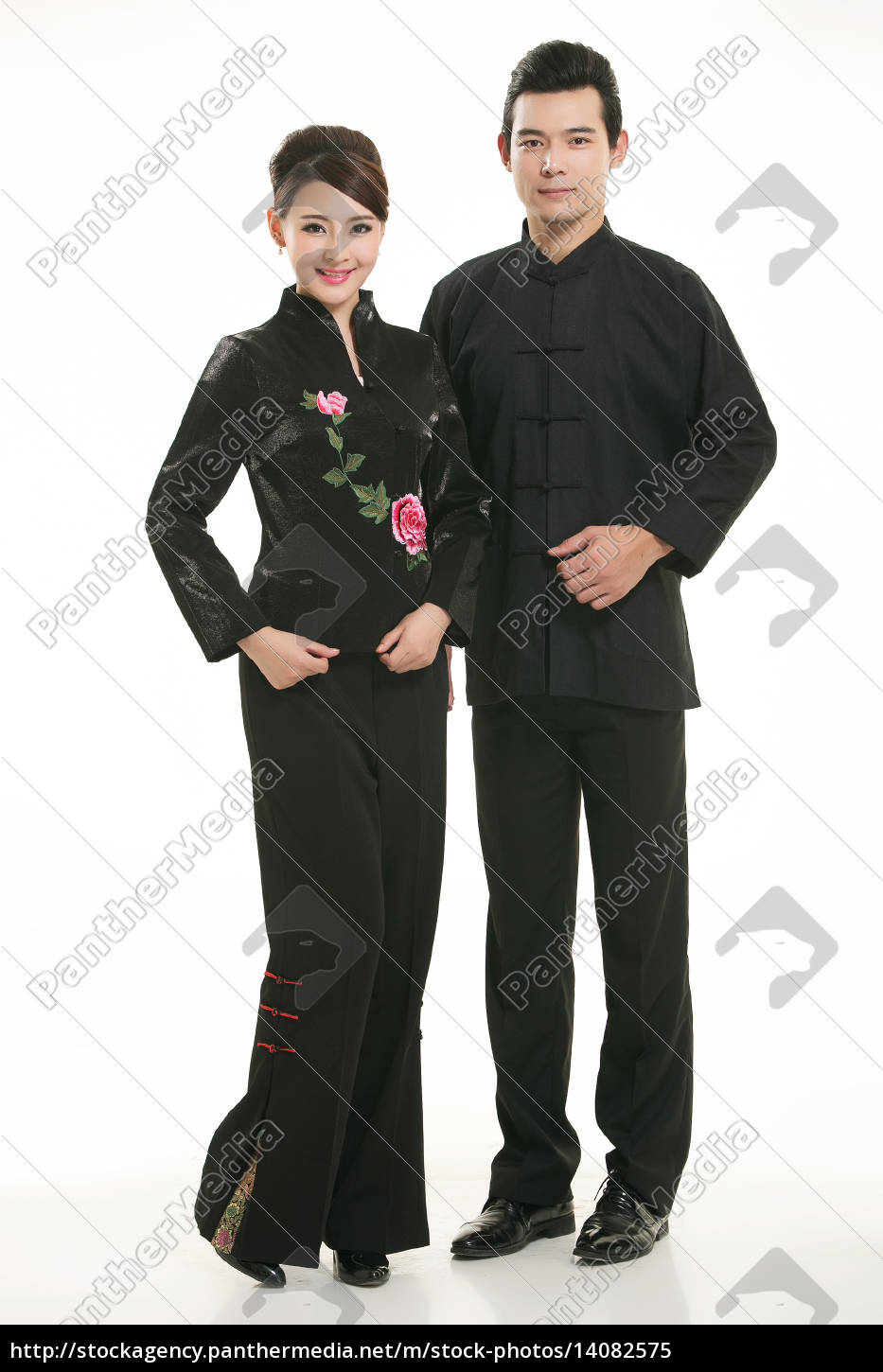 wearing, chinese, clothing, waiter, in, front - 14082575