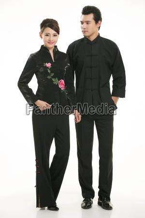 wearing, chinese, clothing, waiter, in, front - 14082591