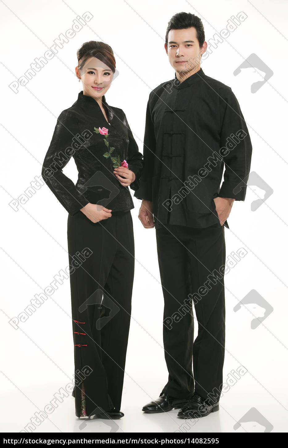 wearing, chinese, clothing, waiter, in, front - 14082595