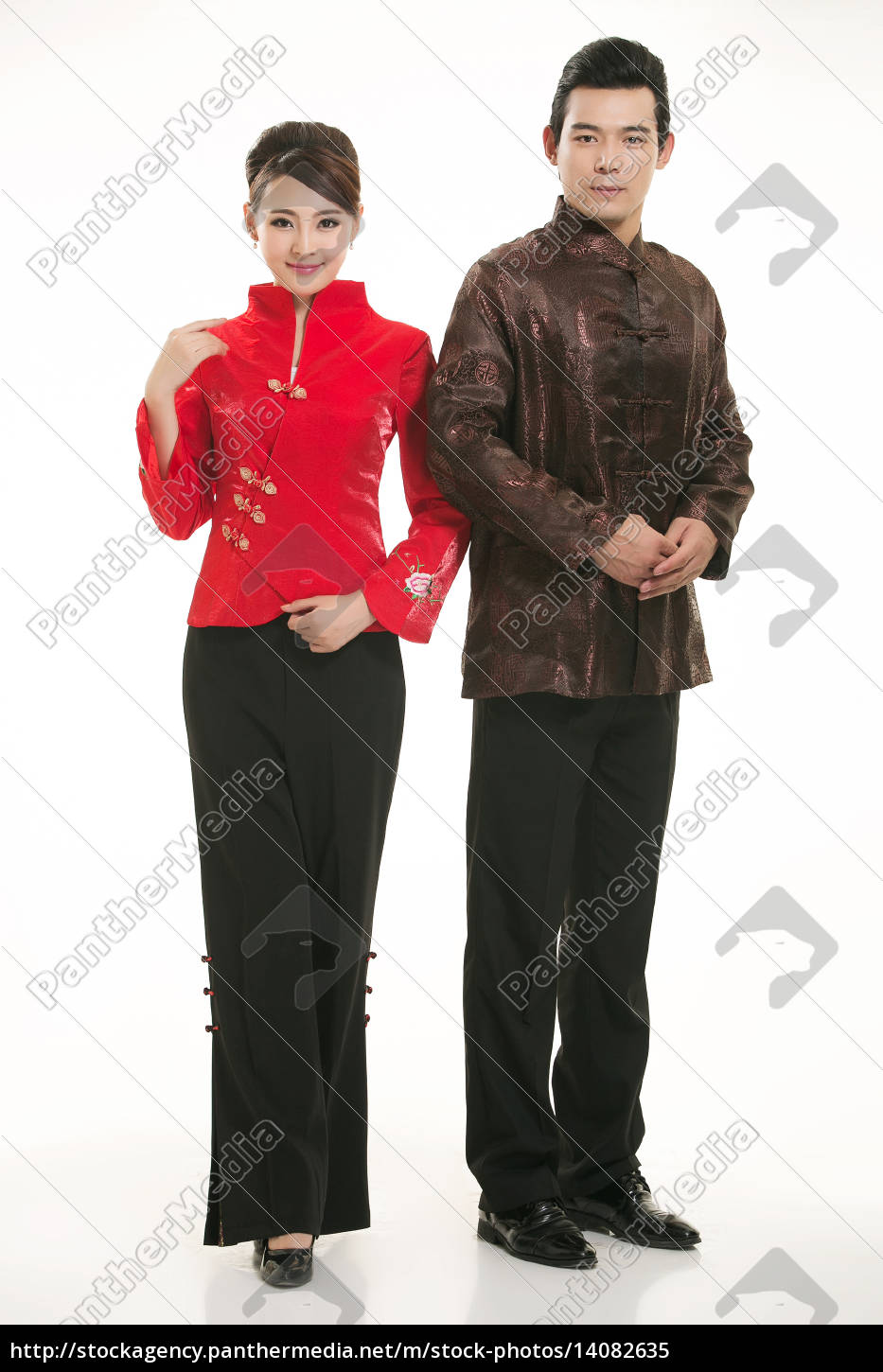 wearing, chinese, clothing, waiter, in, front - 14082635