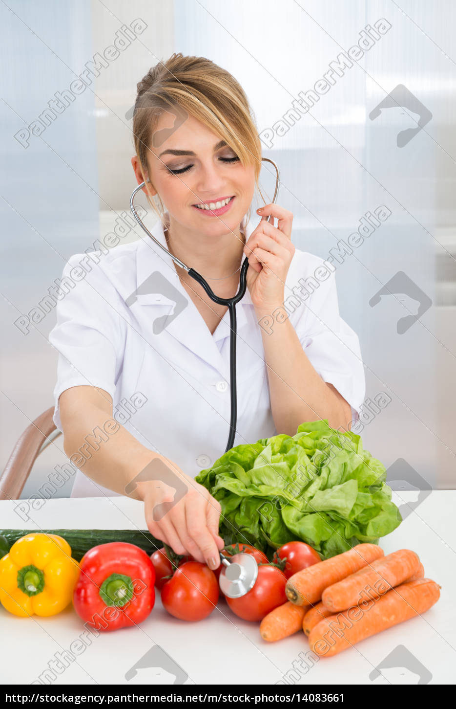 female, dietician, examining, vegetables - 14083661
