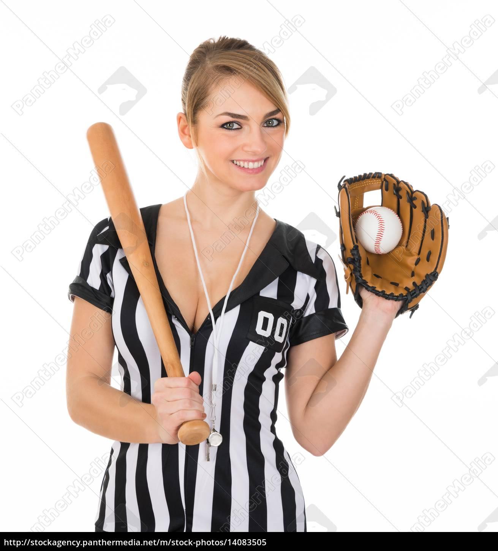 referee, wearing, baseball, glove, and, holding - 14083505