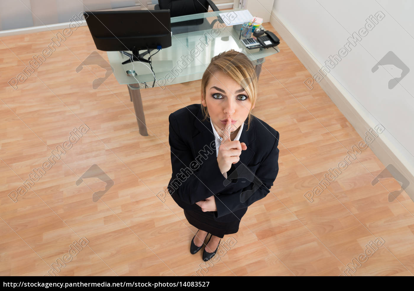 young, businesswoman, with, finger, on, lips - 14083527
