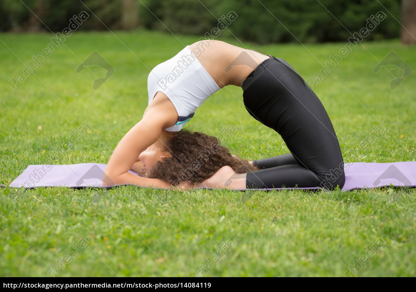 pretty, woman, doing, yoga, exercises - 14084119