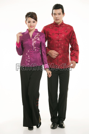 service staff, cotton wadded short gown, cotton wadded undercoat, cottonpadded jacket, greet guests, traditional chinese garments - 14084951