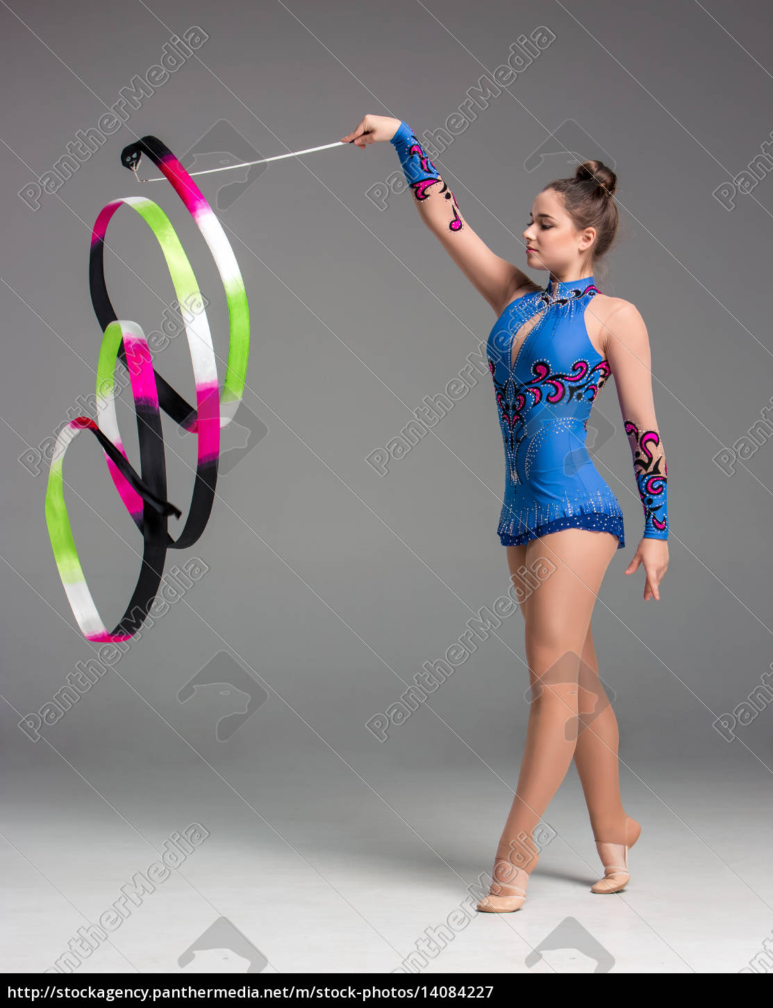 teenager, doing, gymnastics, dance, with, ribbon - 14084227