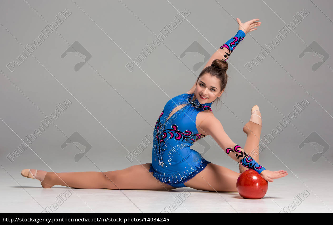 teenager, doing, gymnastics, exercises, with, red - 14084245