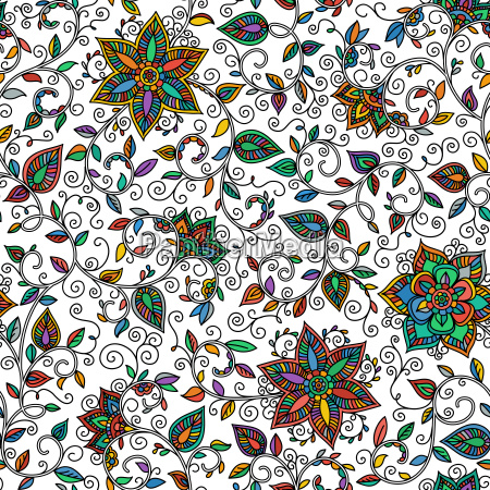 vector, seamless, color, floral, pattern - 14084569