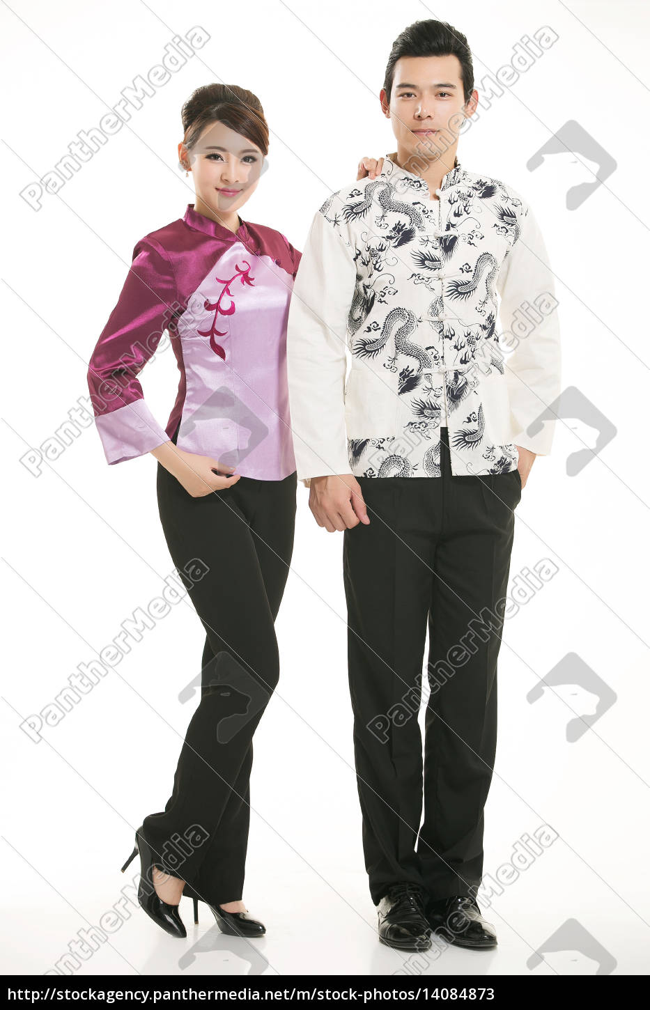 wearing, chinese, clothing, waiter, in, front - 14084873