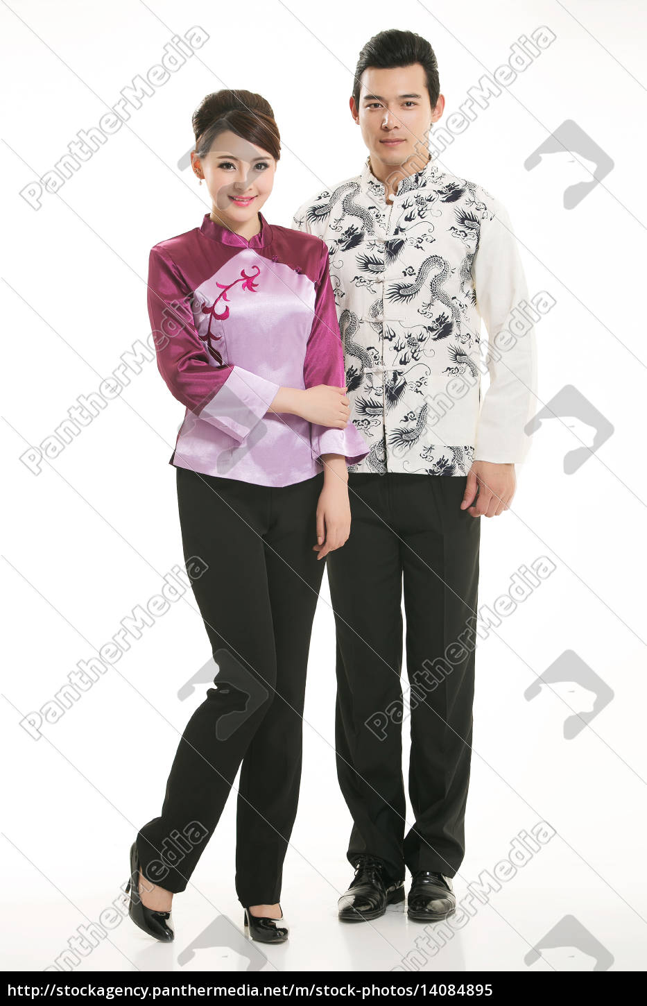 wearing, chinese, clothing, waiter, in, front - 14084895