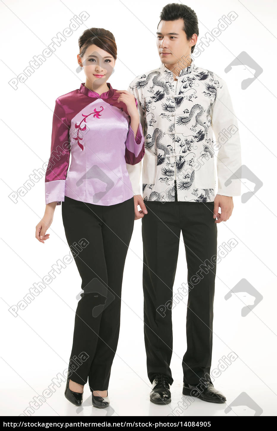 wearing, chinese, clothing, waiter, in, front - 14084905