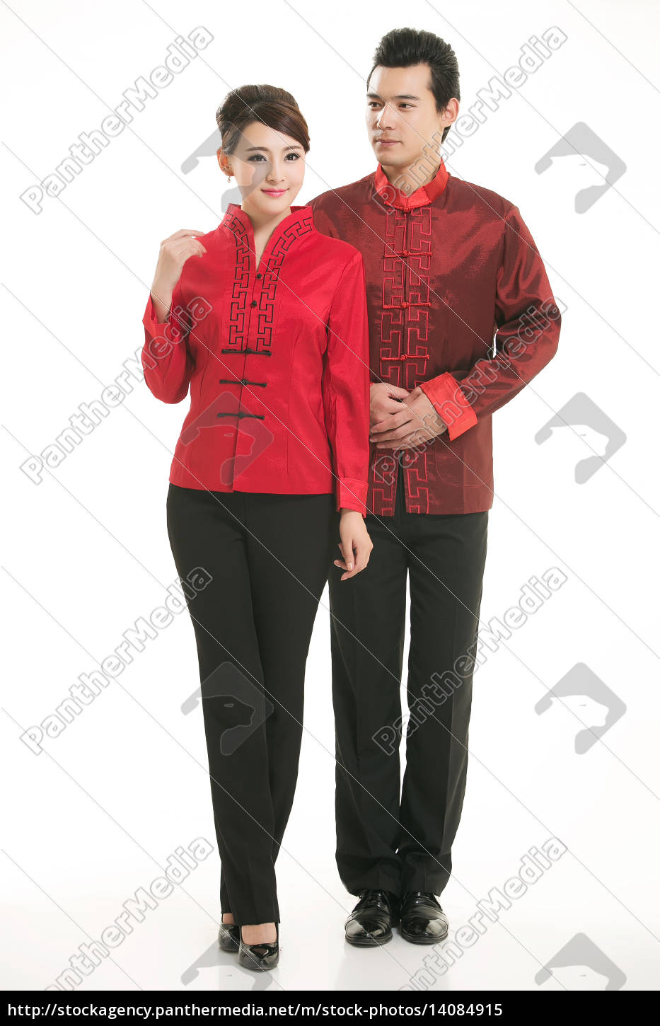 wearing, chinese, clothing, waiter, in, front - 14084915