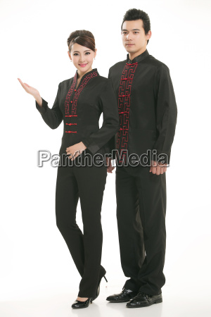 wearing, chinese, clothing, waiter, in, front - 14084931