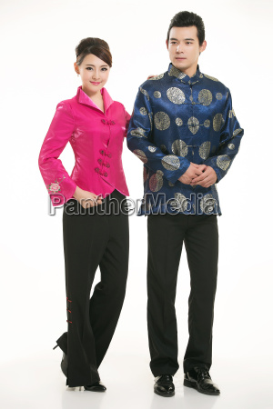 wearing, chinese, clothing, waiter, in, front - 14084937
