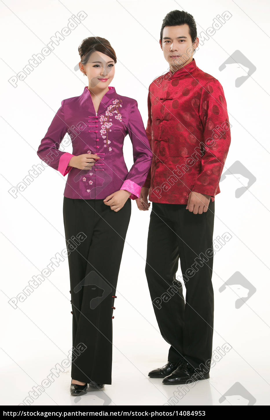 wearing, chinese, clothing, waiter, in, front - 14084953