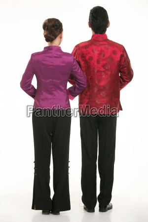 wearing, chinese, clothing, waiter, in, front - 14084955