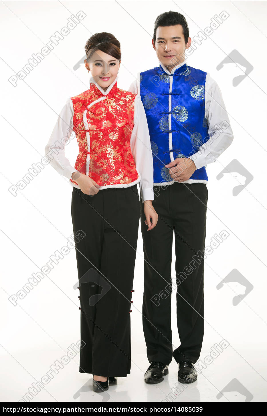 wearing, chinese, clothing, waiter, in, front - 14085039