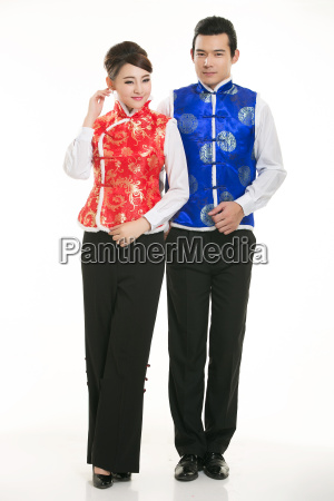 wearing, chinese, clothing, waiter, in, front - 14085055