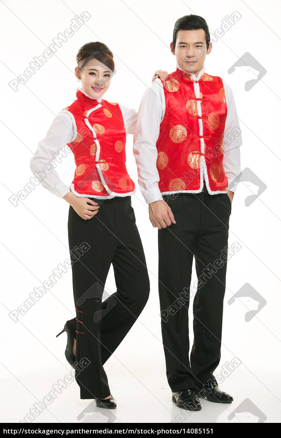 wearing, chinese, clothing, waiter, in, front - 14085151