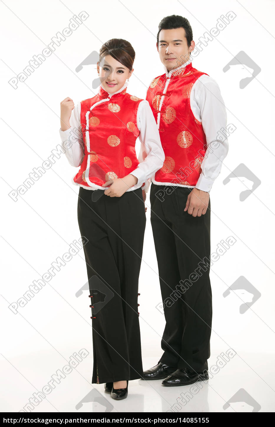 wearing, chinese, clothing, waiter, in, front - 14085155