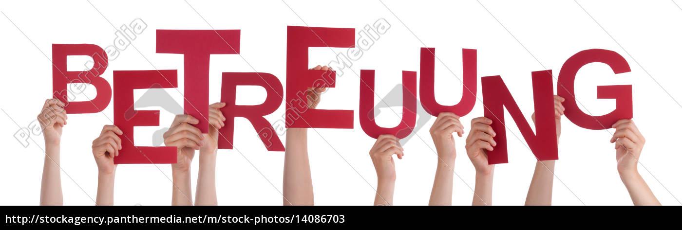 people, holding, german, word, betreuung, means - 14086703